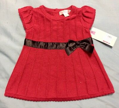 4cd1a4665f6 GIRLS CHEROKEE FALL Red Glitter Cowl Neck Cap Sleeve Sweater Dress L ...