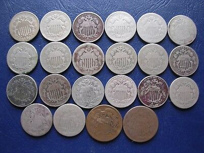 20 Shield Nickels 1866 To 1883 & 2-2 Cent Pieces