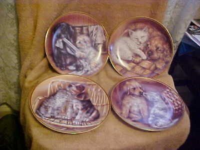 4 Bradex Collector Plates That's What Friends Are For Dog & Cat Plates *****