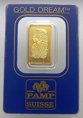 "2.5 Gram ""gold Dream"" Pamp Suisse 24K Gold Bar .9999 Bar #144428"