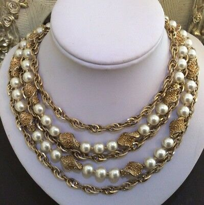 Vintage Signed Trifari Jewellery Multi Chain Strand Faux Pearl Draping Necklace