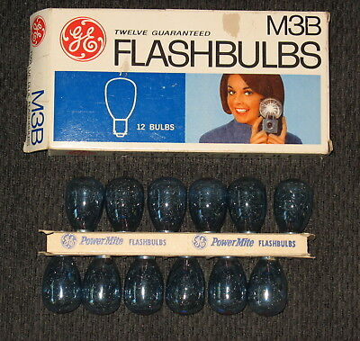 Vintage 12 pack of GE M3B Flashbulbs ~ Blue ~ New Old Stock