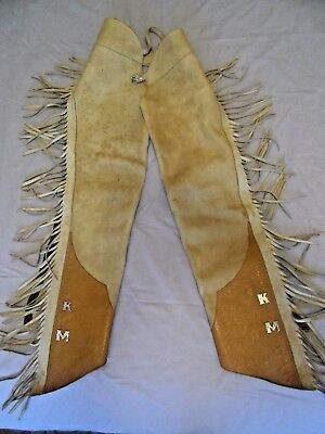 Vintage Leather Fringed Western Cowboy Chaps Must See No Reserve
