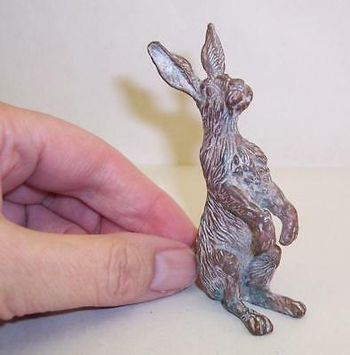 Vintage/Antique SOLID BRONZE Metal HARE Cold Painted/Patinated MINIATURE