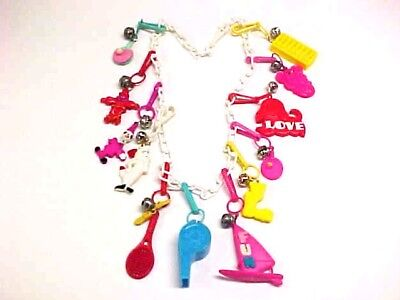 Vtg 1980's  Plastic  Clip  Bell  Charm  Necklace  Clown  Whistle  Abacus  Googly