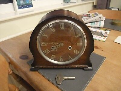 Fabulous Oak Cased Smiths Enfield 1950s Mantle Clock With Chimes & Key