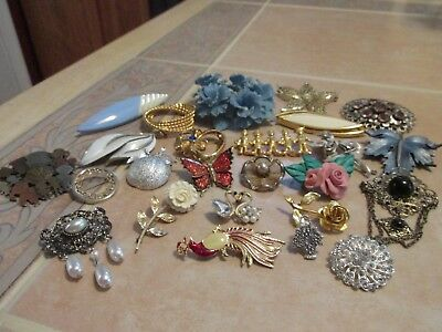 Very Nice Vintage Lot Of 25 Pins Brooches All Wearable All Sellable Pl4