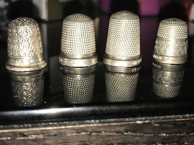 4 x Vintage Hallmarked SOLID SILVER Thimbles Mixed Inc.Charles Horner -22g