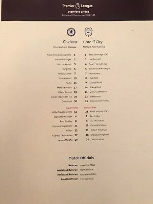 15/9/2018.CHELSEA v CARDIFF CITY TEAMSHEET COLOUR MINT OFFICIAL
