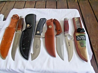 Vintage Lot Of Four (4) All Different Fixed Blade Hunting Knives All W/sheaths