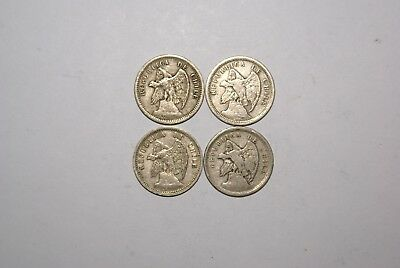 4 OLDER 20 CENTAVO COINS from CHILE (1922, 1929, 1933 & 1937)