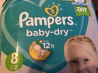New Pampers Baby Dry Nappies diapers  Samples X 4 - Size 8 17kg +