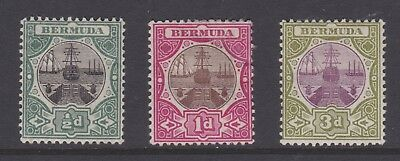 BERMUDA 1902/03 - COMPLETE SET OF MOUNTED MINT STAMPS - DRY DOCK - SG 31 to 33
