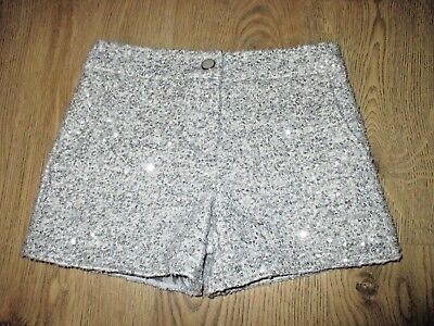 GORGEOUS Girls Silver Sparkle Winter Lined Shorts ~ 8-9yrs ~ F&F ~XMAS/PARTY VGC