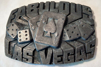 Indiana Metal Craft 1980 Fabulous Las Vegas,Nevada Belt Buckle Cards Dice VTG