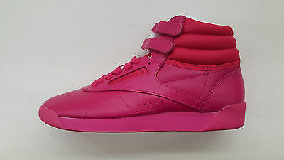 925be781849 Reebok Freestyle Hi Color Bomb Pink Craze White Womens Size Sneakers Bs7861