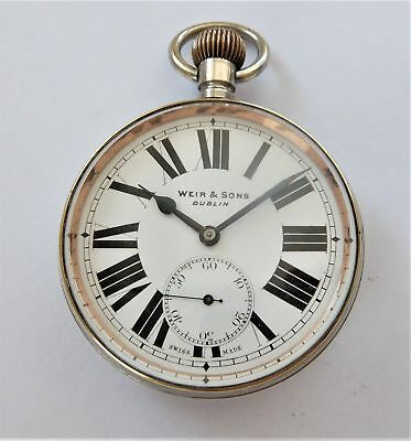 1900 Metal Cased Goliath Swiss Lever Pocket Watch Weir & Sons Dublin Working
