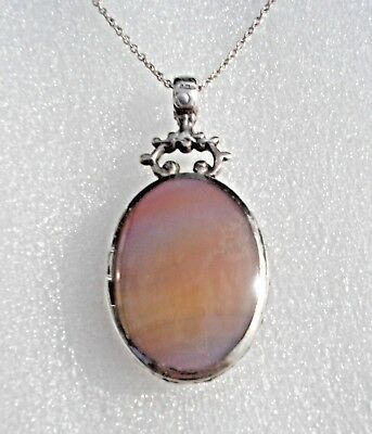 Beautiful vintage engraved Silver pendant with Tigers Eye, & Banded Agate stones