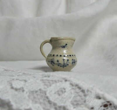 New Dollhouse Exquisite Jane Graber Stoneware Pitcher, Stunning Floral Design