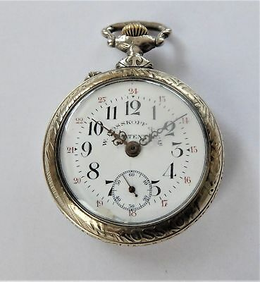 1900 Metal Cased Rosskopf Patent Lever Pocket Watch (Railway Interest) Working