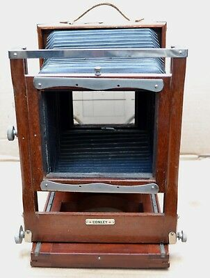 """Antique Conley Wooden Camera with Good Bellows Opens 13"""" Long 5 x 7"""