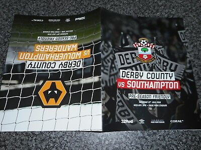 DERBY COUNTY  v  SOUTHAMPTON  + WOLVES 2018/19 FR'S JOINT ISSUE  ***FREE POST***