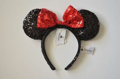 Disney Parks Minnie Mouse Black and Red Sequined Bow Headband New With Tags