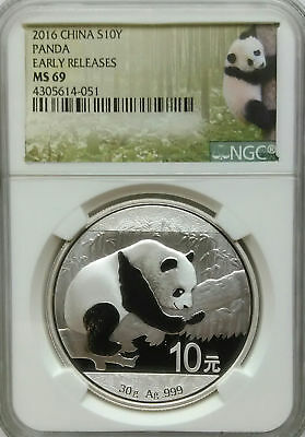 NGC 2016 China PANDA 10¥ Yuan Coin MS69 SILVER 30g .999 PRC Mint Early Releases*