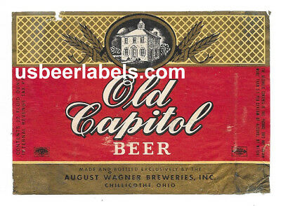 1940's IRTP beer label - OLD CAPITOL BEER - Chillicothe, OH (TAZ-4)