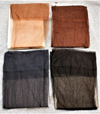Lot Of 4 Pair Vintage Nylon Stockings / Hose Unknown Size Or Brand