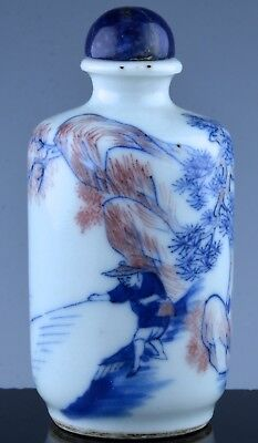 ANTIQUE19c CHINESE BLUE WHITE COPPER RED LANDSCAPE SNUFF BOTTLE LAPIS LAZULI LID