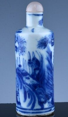 Very Fine Chinese Blue & White Landscape Porcelain Snuff Bottle Decorated Base