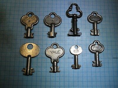 8 Six Lever Lock Keys - Old - Antique