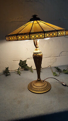 Antique Art Nouveau Deco Cast Iron Lamp Iris Flower  Vintage Stain Glass Slag