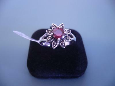 Sterling Silver 925 Created Garnet & Marcasite Gemstone Ring - 10 / S.5 - 4G