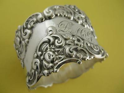 Victorian Sterling NAPKIN RING w/ ornate floral & scroll pattern