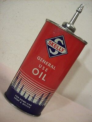 1940's~SKELLY GENERAL USE OIL~UNOPENED LEAD TOP ADVERTISING OILER TIN CAN~4 OZ.~