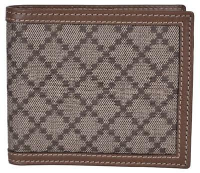 758a678315db New Gucci Men's 225826 Beige Taupe Canvas Leather Diamante Bifold Wallet