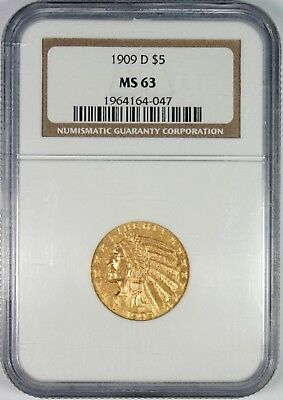 1909-D $5 Gold Indian Head Half Eagle Coin NGC MS63