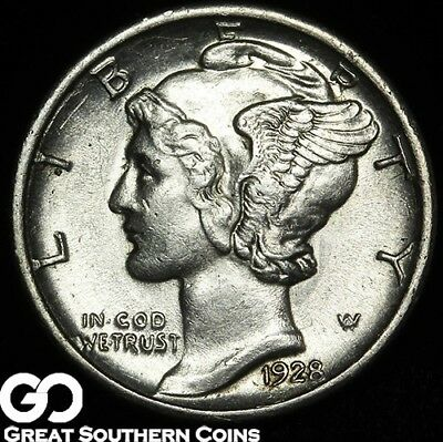 1928-S Mercury Dime, Choice BU Better Date