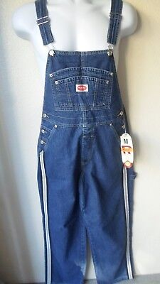 NWT'S Revolt Women's Denim Jeans Bib Overalls Brown Tan White Stripe S M L