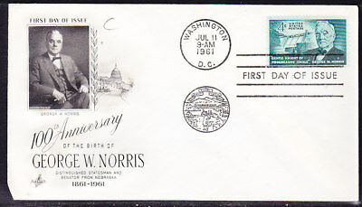 """USA """"Artcraft"""" 1961 George W. Norris  Cachet First Day Cover"""