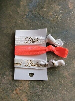 Elastic Hair Ties - Hair Bands - Bride - Bridesmaid - Hen Party - Orange - Grey