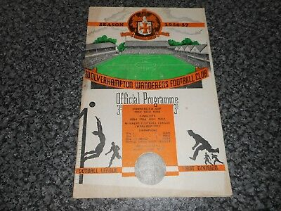 WOLVERHAMPTON WANDERERS ' WOLVES '  v  MANCHESTER UNITED ( CHAMPIONS ) 1956/7