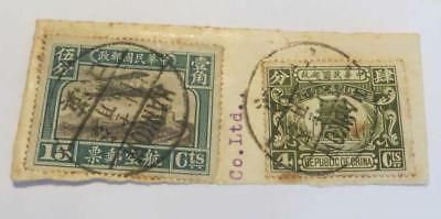 China 1921 Air Curtis15c used on piece