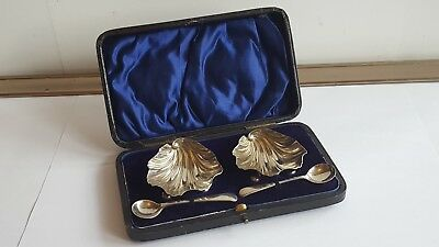 A Cased Pair of Victorian Solid Silver Salts London 1900 VGC