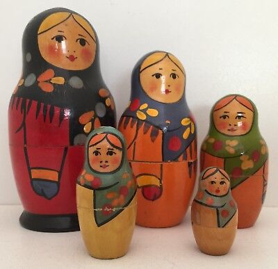 VINTAGE FULL SET of 5 RUSSIAN BABUSHKA DOLLS in EXC