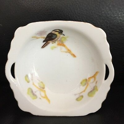 "VINTAGE CERAMIC BUTTER or CHEESE DISH ""KOOKABURRA"" AUSTRALIAN BIRD in EXC"