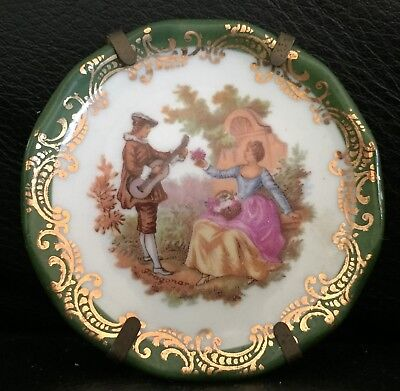 Vintage Limoges Porcelain Miniature Cabinet Plate For Display / Dolls House Exc