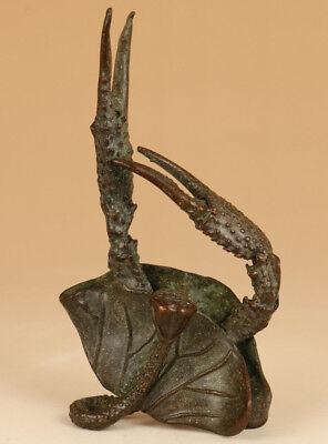 antique big Bronze Hand solid carved lotus crab statue figure collectable art